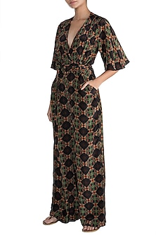 Black Digital Printed Jumpsuit by Sourabh Kant Shrivastava