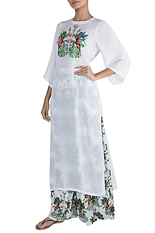 White Embroidered Printed Kurta With Pants by Sourabh Kant Shrivastava