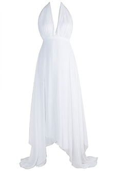 White High-Low Flared Gown by Sourabh Kant Shrivastava