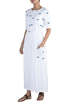 White Butterfly Embroidered Dress by Sourabh Kant Shrivastava