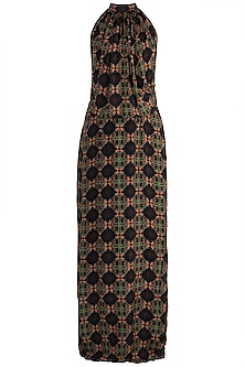 Black Digital Printed Maxi Dress by Sourabh Kant Shrivastava