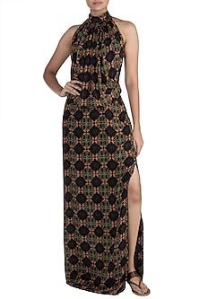 Black Digital Printed Maxi Dress by Sourabh Kant Shrivastava