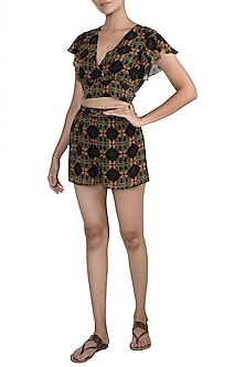 Black Digital Printed Top With Shorts by Sourabh Kant Shrivastava