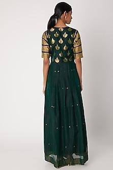 Emerald Green Handwoven Tunic Dress With Dupatta by Sourabh Kant Shrivastava