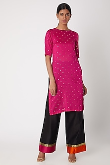 Fuchsia Embroidered Tunic With Pants by Sourabh Kant Shrivastava