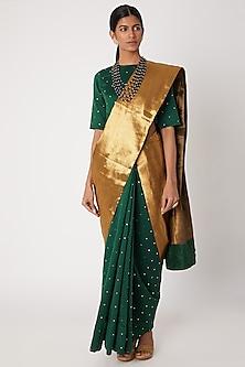 Emerald Green Hand Embroidered Saree Set by Sourabh Kant Shrivastava