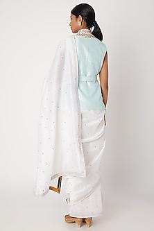 White Embroidered Jacket Saree Set by Sourabh Kant Shrivastava