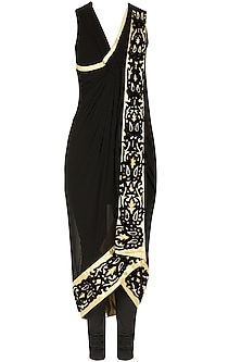 Charbagh black and gold drape by Sonal Kalra Ahuja
