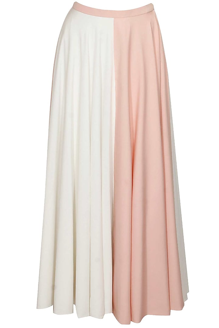 Half and half pink and ivory maxi skirt by Sonal Kalra Ahuja