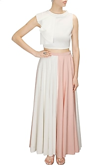 Half and half pink and ivory maxi skirt by Sonal Kalra Ahuja