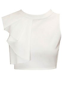 Ivory ruffled crop top by Sonal Kalra Ahuja