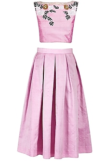 Candy floss midi skirt and crop top set by Sonal Kalra Ahuja