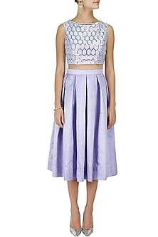 Periwinkle midi skirt and crop top set by Sonal Kalra Ahuja