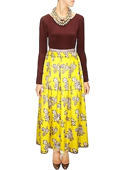 Chartreuse rose print pleated maxi skirt by Sonal Kalra Ahuja
