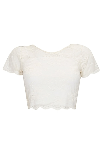 Cream chantilly lace crop top by Sonal Kalra Ahuja