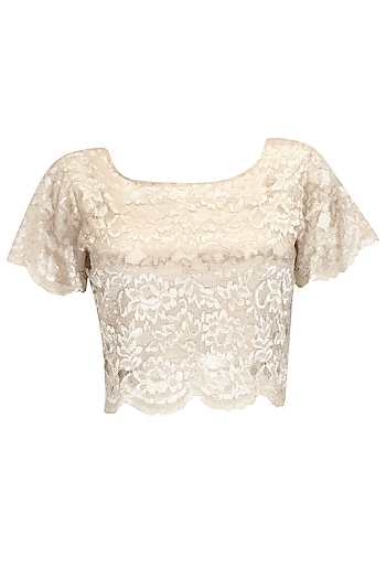 Grey chantilly lace crop top by Sonal Kalra Ahuja