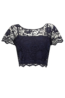 Deep blue chantilly lace crop top by Sonal Kalra Ahuja