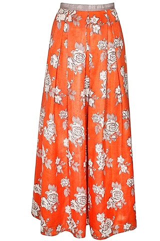 Orange rose print maxi skirt by Sonal Kalra Ahuja