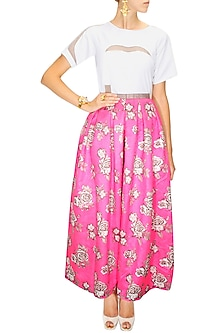Pink rose print pleated maxi skirt by Sonal Kalra Ahuja