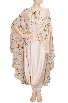 Blush pink papillion printed high low cape with cowl skirt by Sonal Kalra Ahuja