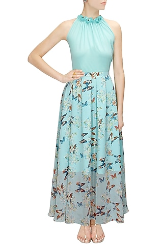 Aqua printed maxi skirt with halter neck blouse by Sonal Kalra Ahuja