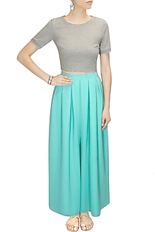 Aqua pleated flared pants by Sonal Kalra Ahuja