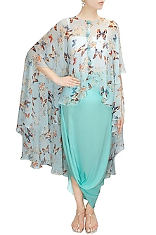 Aqua papillion printed high low cape with cowl skirt by Sonal Kalra Ahuja
