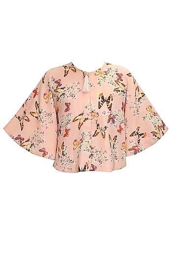 Blush pink papillion printed short cape by Sonal Kalra Ahuja