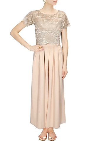 Blush pink pleated flared pants by Sonal Kalra Ahuja