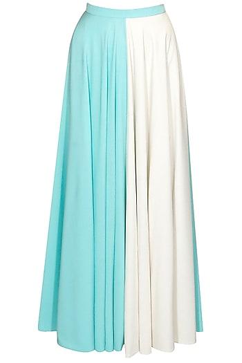 Aqua and ivory half and half maxi skirt by Sonal Kalra Ahuja