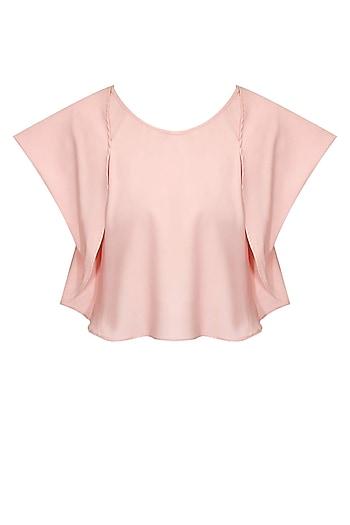 Blush pink folded flap sleeves blouse by Sonal Kalra Ahuja