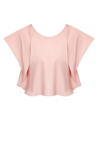 Blush pink folded flap sleeves blouse by Sonal Kalra Ahuja