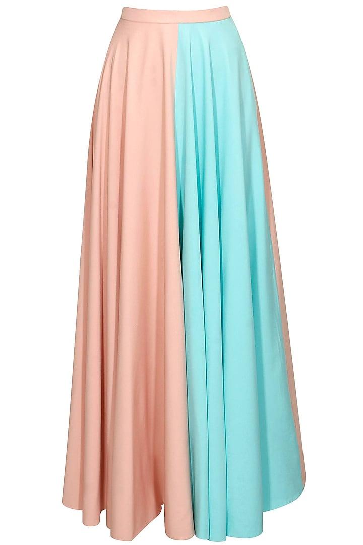 Pink and blue half and half maxi skirt by Sonal Kalra Ahuja