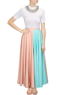 Pink and blue half and half maxi skirt by Sonal Kalra Ahuja