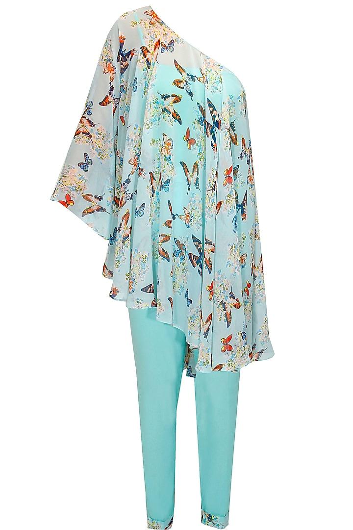 Aqua off shoulder printed cape with pants by Sonal Kalra Ahuja