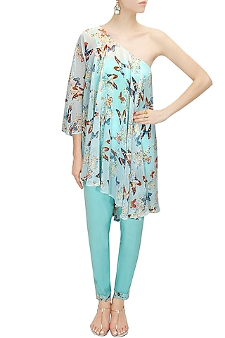 Aqua off shoulder printed cape with pants by Sonal Kalra Ahuja