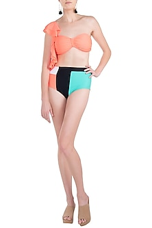 Neon orange ruffled bikini set by KAI Resortwear