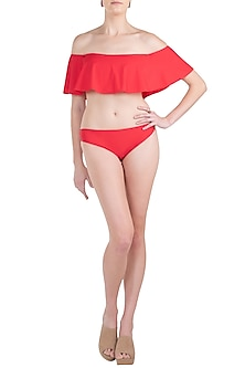 Red off shoulder double layered bikini set by KAI Resortwear