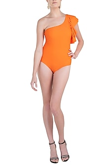 Orange ruffle classic swimsuit by KAI Resortwear