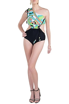 Green neo one shoulder drawstring swimsuit by KAI Resortwear