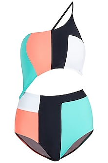 Mint color block one shoulder classic swimsuit by KAI Resortwear