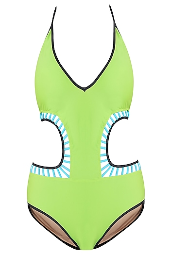 Lime halter cutout monokini swimsuit by KAI Resortwear