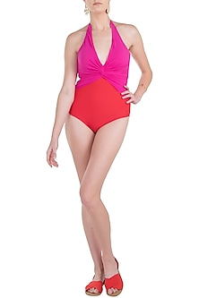 Pink duo tone halter twist swimsuit by KAI Resortwear