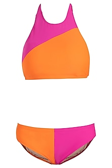 Pink colour blocked bikini set by KAI Resortwear