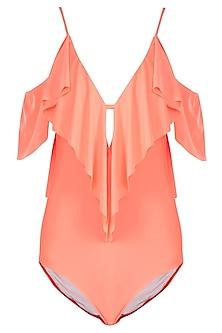 Neon orange ruffled one shoulder swimsuit by KAI Resortwear