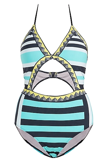 Mint striped beach bunny monokini swimsuit by KAI Resortwear