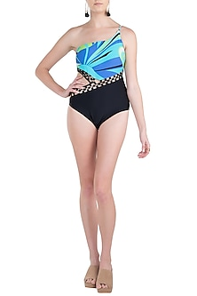 Blue luna metal one shoulder swimsuit by KAI Resortwear