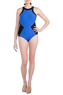 Royal blue colour block classic swimsuit by KAI Resortwear