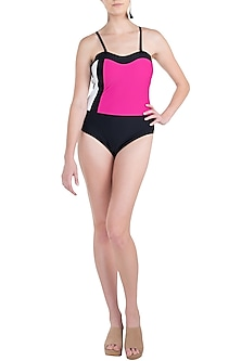 Pink three tone colour block swimsuit by KAI Resortwear