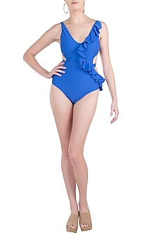 Blue ruffle cutout monokini swimsuit by KAI Resortwear
